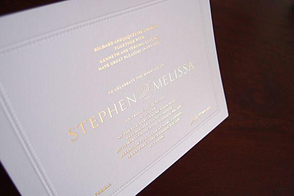 Embossed Border Gold On White Embossed Invitations Invitations Wedding Invitations