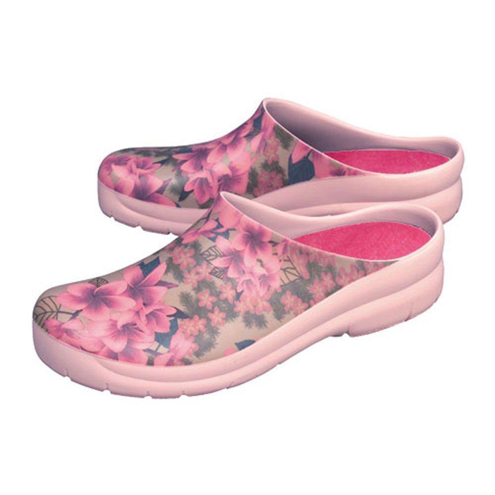 Jollys Women's Plumeria Pink Picture Clogs Size 10 in