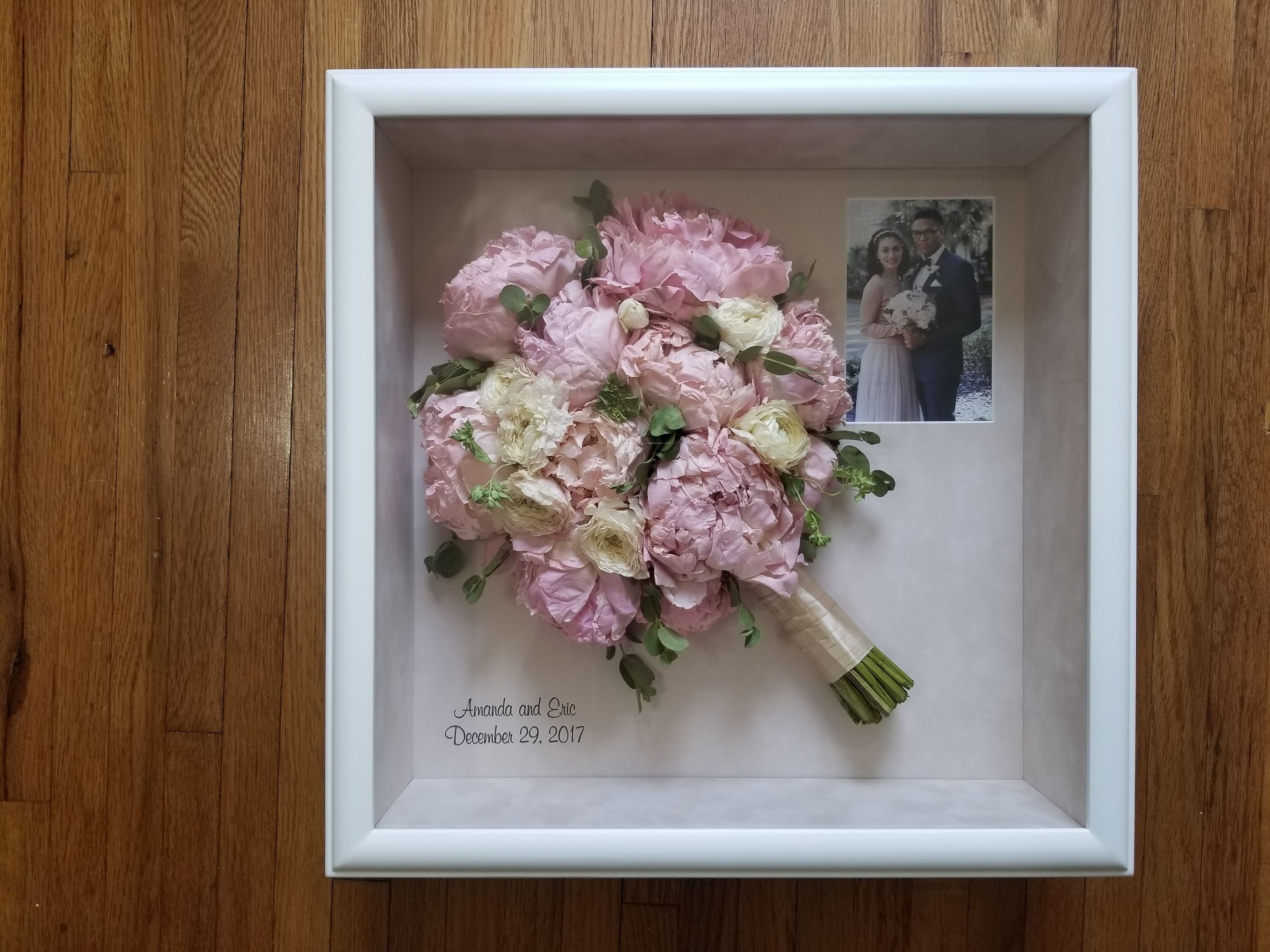 Preserved Wedding Bouquet In Contemporary White Shadow Box With Wedding Photo Wedding Bouquet Preservation Box Wedding Invitations Bridal Bouquet Calla Lillies