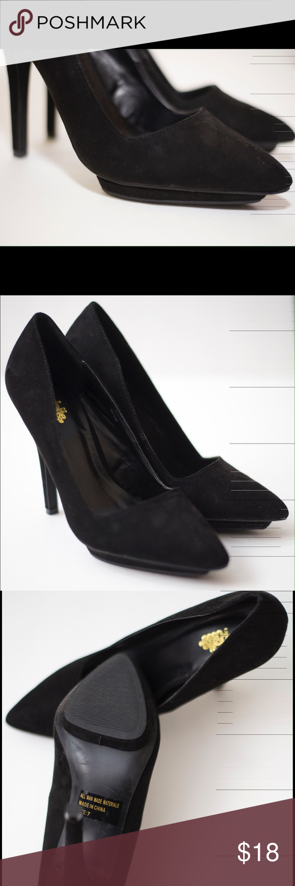 """Suede Double Platform pointed toe Pumps Super trendy double platform pointed toe pumps, faux suede texture 4"""" heel. Fun twist to a classic staple! (worn once indoors.) !!!They fit like a 6.5!!! Charlotte Russe Shoes Heels"""