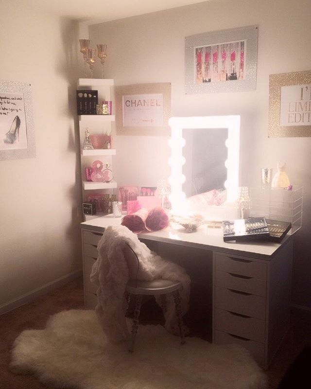 Bedroom Decor For Birthday Ikea Small Bedroom Design Examples Night Bedroom Wallpaper Interior Of Master Bedroom: This Is The Vanity Set Up I Did For My Daughters 25th