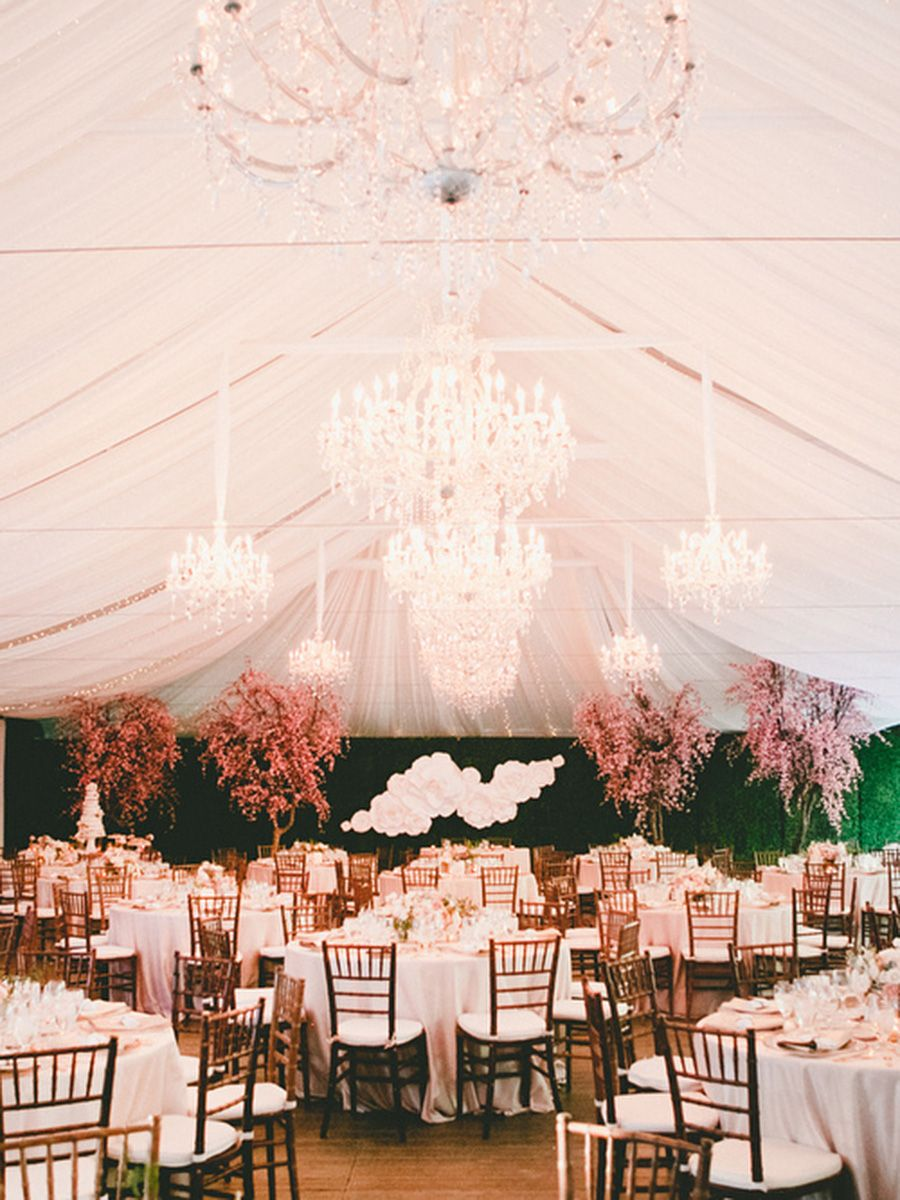 Wedding tent decoration images  Outdoor tented wedding with chandeliers and cherry blossom trees