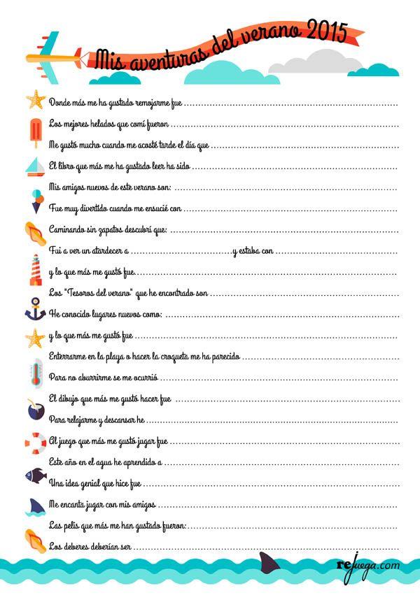 20 Cosas Que Un Niño Debería Hacer En Verano Con Imprimible Para Los Niños Rejuega Y Disfruta Jugando Primer Dia De Clases Aprendizaje Actividades De Verano De Los Niños