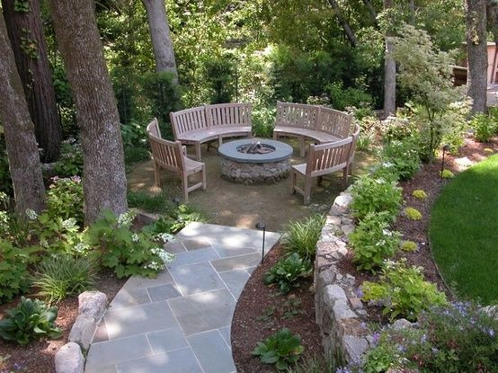 i like this idea - maybe re-think the yard - maybe not a patio in front of shed - also like the retaining wall -Backyard path/ firepit