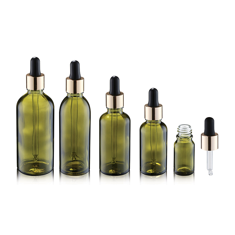 Cosmetic Packaging Painting Green Glass Essential Oil Dropper Bottles 5ml 10ml 15ml 30ml 50ml 100ml Silk Body Oil Packaging Dropper Bottles Green Glass Bottles