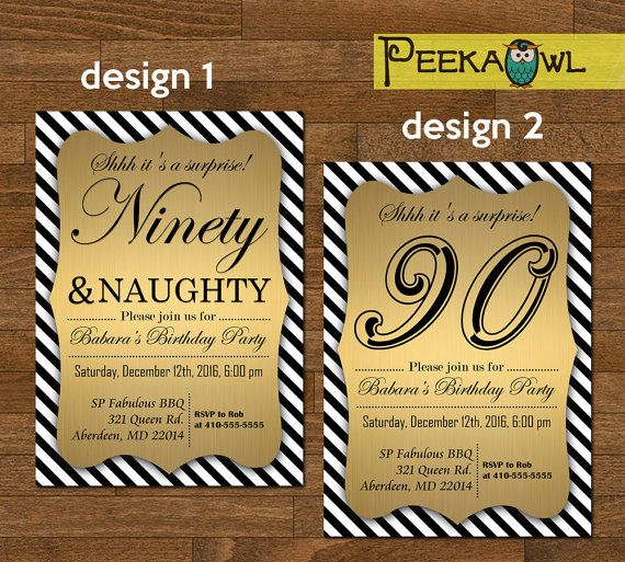 Printable Striped White Black 90th Birthday Invitation By PeekaOwl