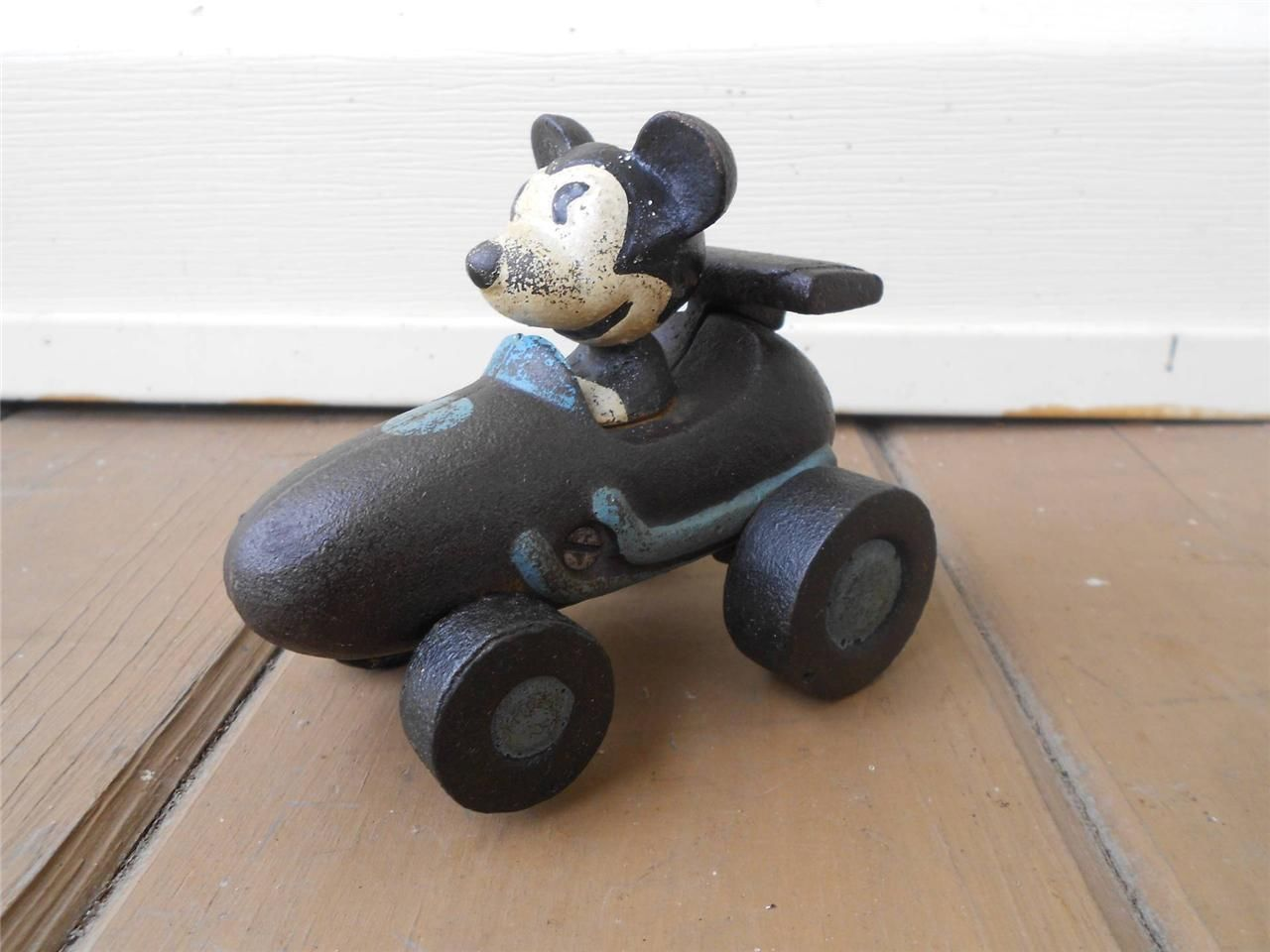 CAST IRON MICKEY MOUSE RACE CAR TOY WITH MICKEY DRIVING A