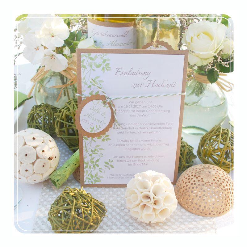 Einladung Zur Hochzeit Im Vintage Design Mit Kraftpapier Und Kordel