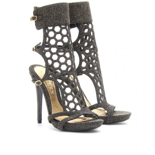 Alexander McQueen Perforated Stiletto Sandals With Glitter ($630) ❤ liked on Polyvore featuring shoes, sandals, alexander mcqueen, black platform sandals, high heel platform sandals, leather sandals, black platform shoes and black high heel shoes