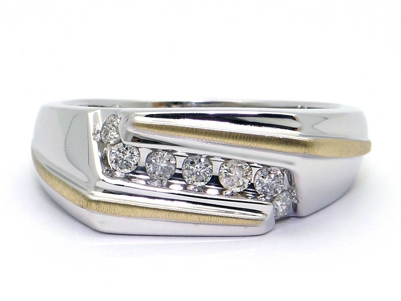 Men's 14kt White Yellow Gold Round Cut Diamond .25ct 9mm Wedding Band Ring Size 11 by AntiqueJewelryLine on Etsy