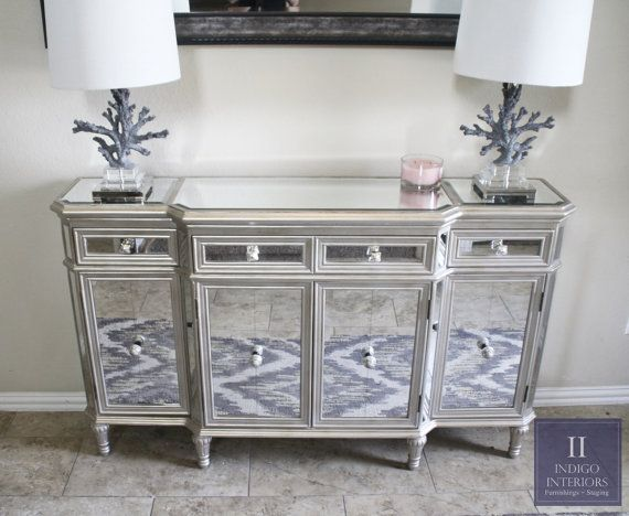 Stunning Mirrored Console Buffet Dresser Tv Stand