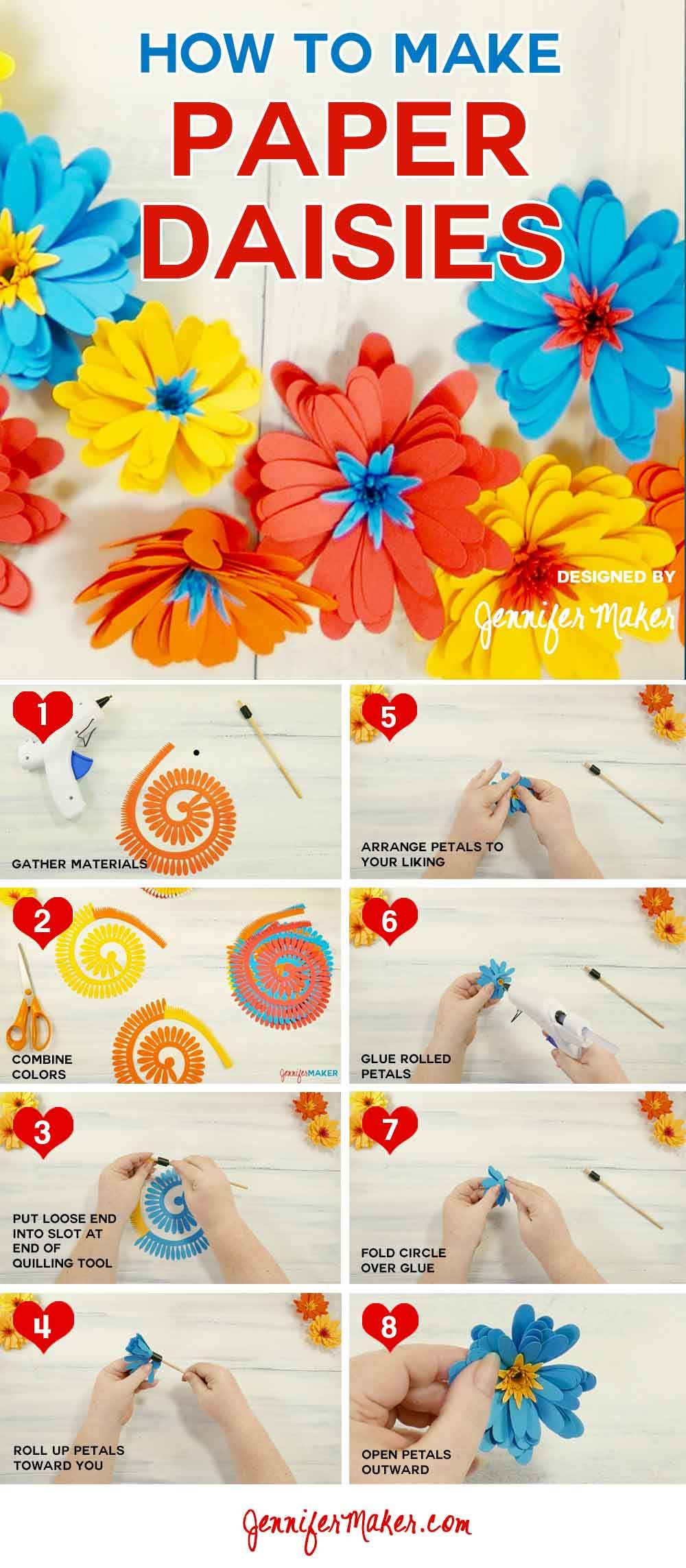 Paper Daisy An Easy Rolled Flower Paper Daisy Paper Flowers