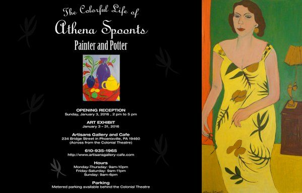 Exhibit of paintings and pottery by Athena Spoonts.
