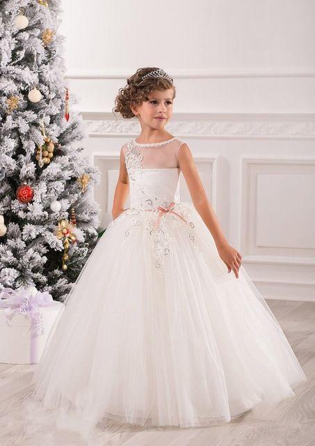 elegante blanco de encaje vestidos de bola de tulle vestidos de nia para bodas chicas vestidos