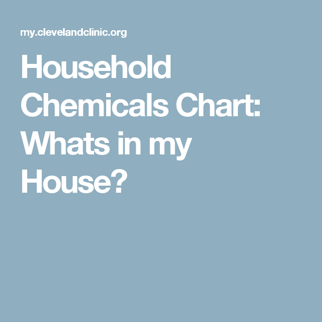 Household Chemicals Chart: Whats In My House?