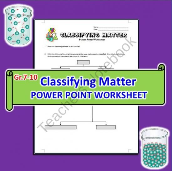 Classifying Matter - PowerPoint Worksheet from Tangstar Science on ...