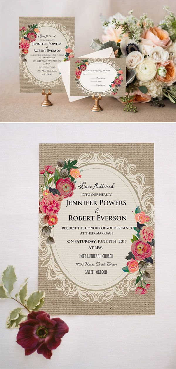 Shabby Chic Floral Printed Lace And Burlap Rustic Wedding Invitations Rose Wedding Invitations Vintage Wedding Invitations Wedding Cards