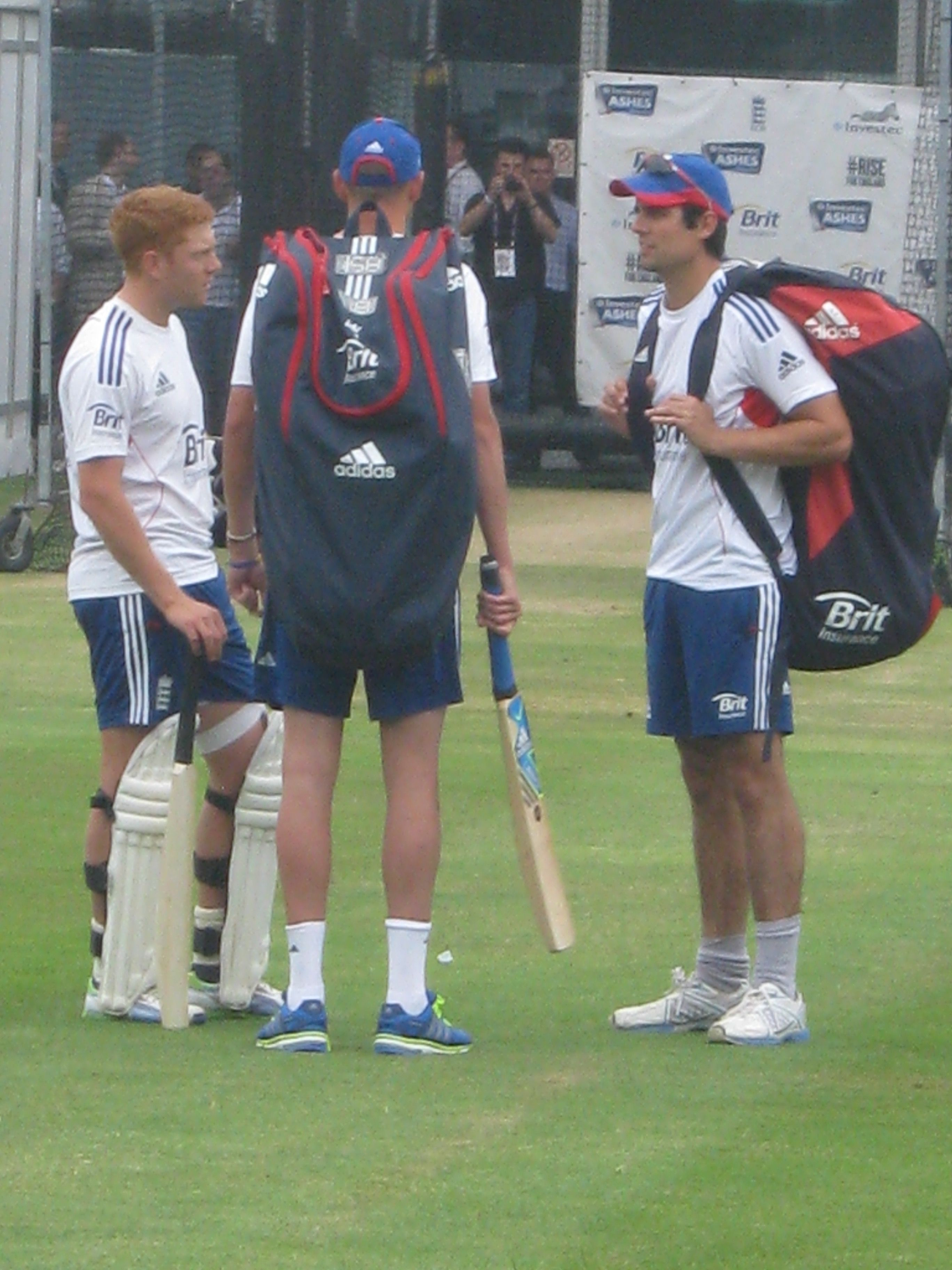 Jonny Bairstow, Alastair Cook and Stuart Broad at Lord's 2013