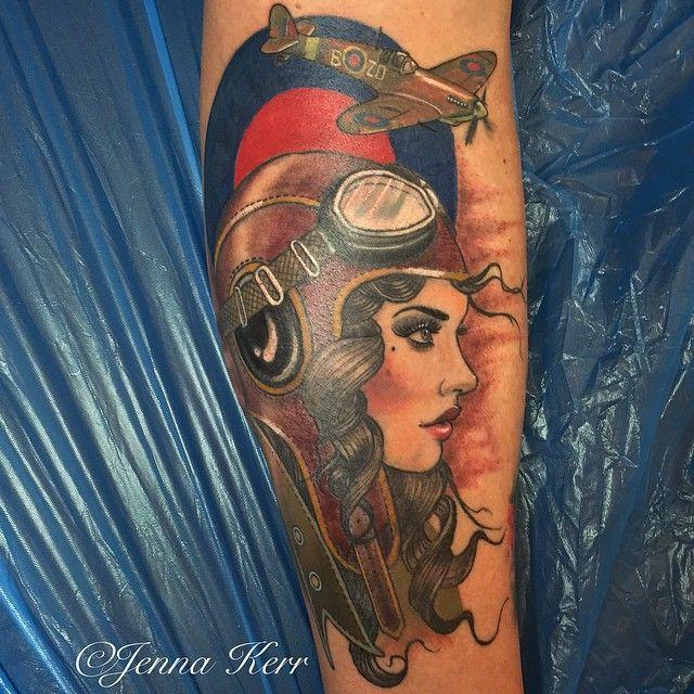 ac3d61dcbbf20 Finally got to finish this piece, thank you Paul it was a pleasure to tattoo  you. #spitfire #pilot #femalepilot #ww2 #aviation #raf #jennakerr ...