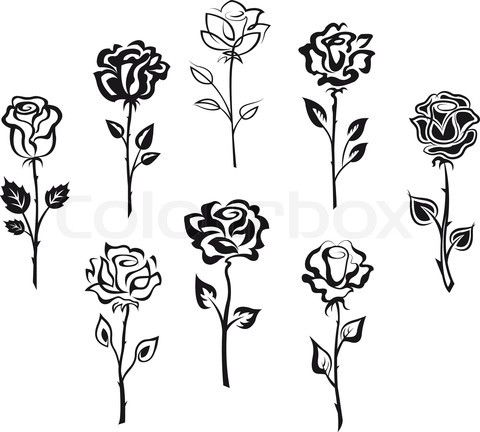 Set Of Rose Flowers Vector Colourbox Small Rose Tattoo Finger Rose Tattoo Rose Tattoos