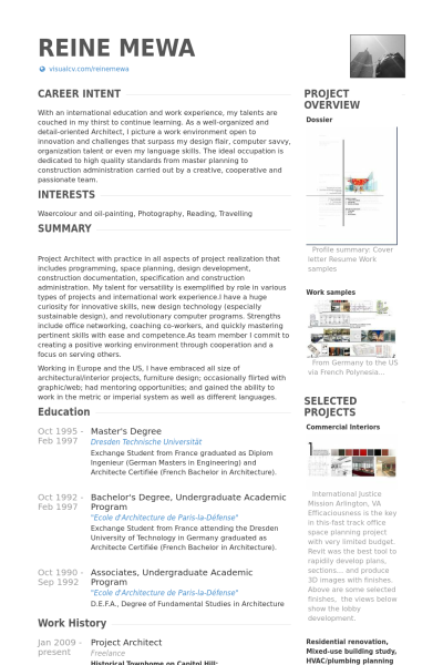 project architect Resume Example | Progetti | Pinterest | Architect ...