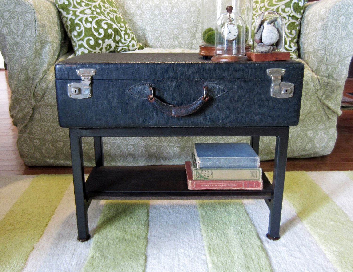 Handmade Black Vintage Trunk Suitcase Coffee Table with Storage Shelf - VINTAGE STEAMER TRUNK CHEST Banded Railway LUGGAGE Suitcase COFFEE