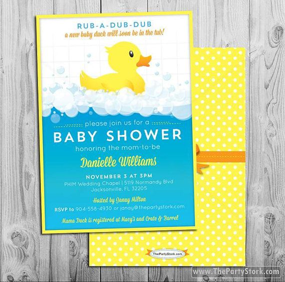 Rubber Ducky Baby Shower Invitation Printable by thepartystork