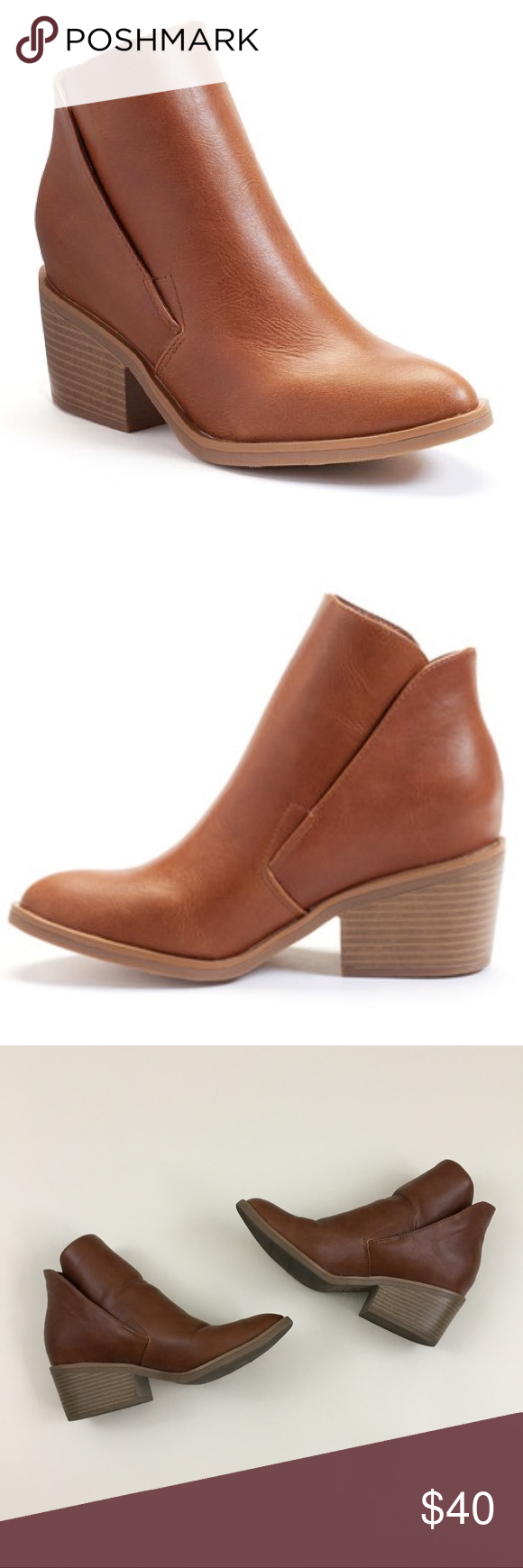 60ec636631e7 Apt. 9 hidden wedge cognac booties size 9 Apt. 9 hidden wedge cognac booties