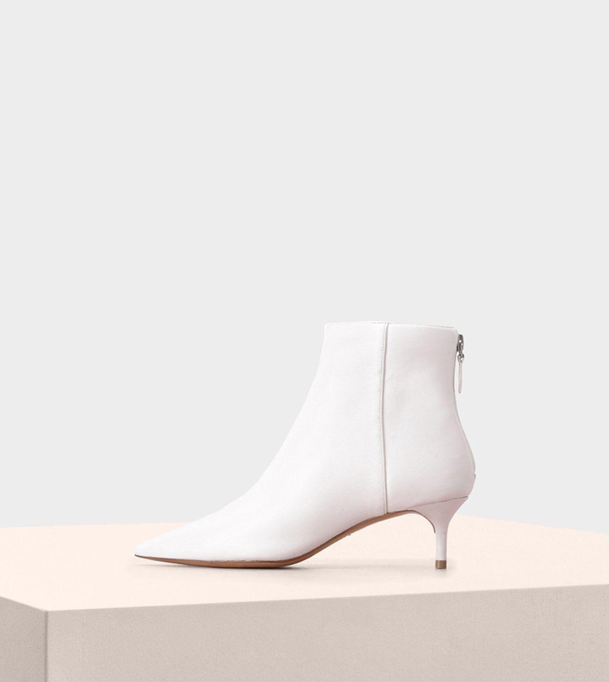 Alexandre Birman White Kitten Heel Boot Kitten Heel Boots Bridal Boots Peep Toe Bootie