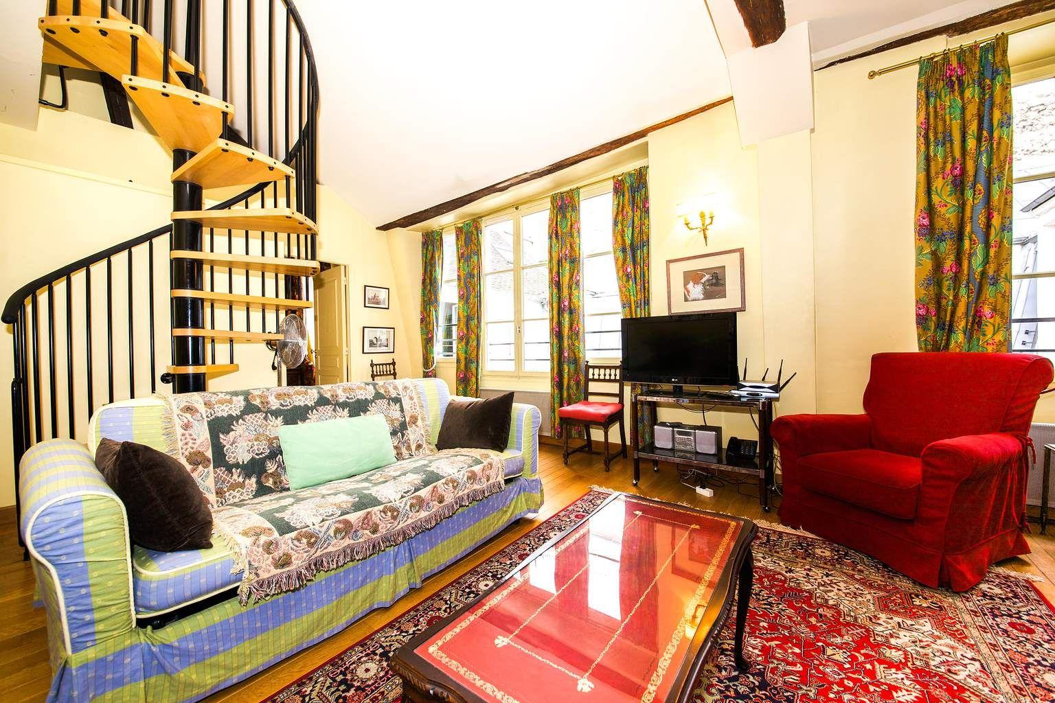 rue victor cousin   paris   rental 1-bedroom duplex apartment