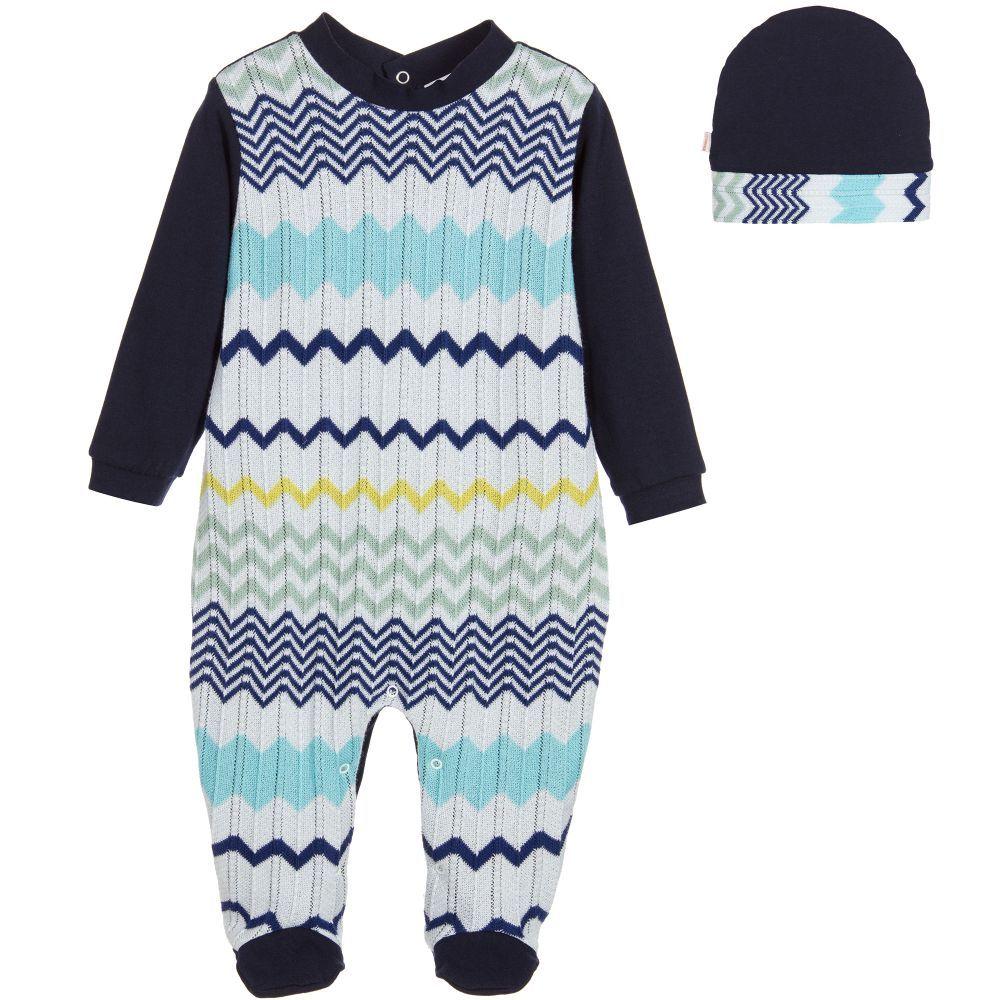 Missoni - Blue Knitted Zigzag Babygrow & Hat Gift Set | Childrensalon