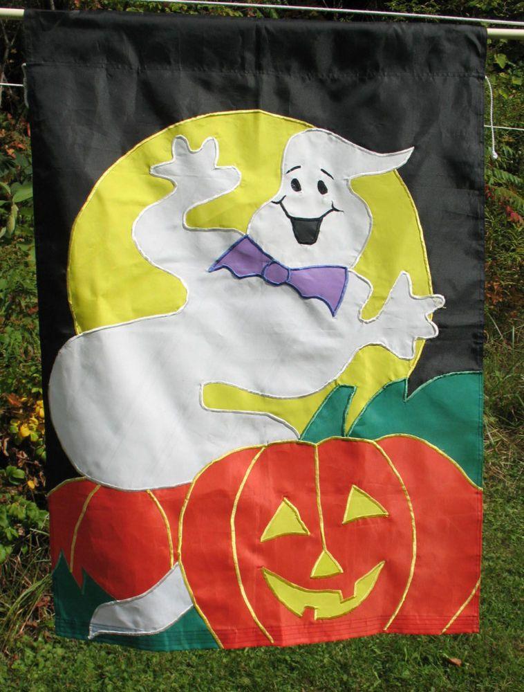 """Halloween Ghost Jack-o-lantern Pumpkin Large Flag Applique Black Orange 28""""x 40"""" #Unbranded"""