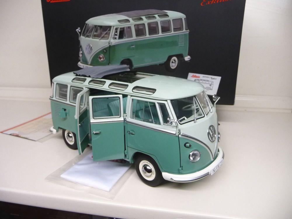 1:18 schuco vw volkswagen t1 samba bus green /white new free