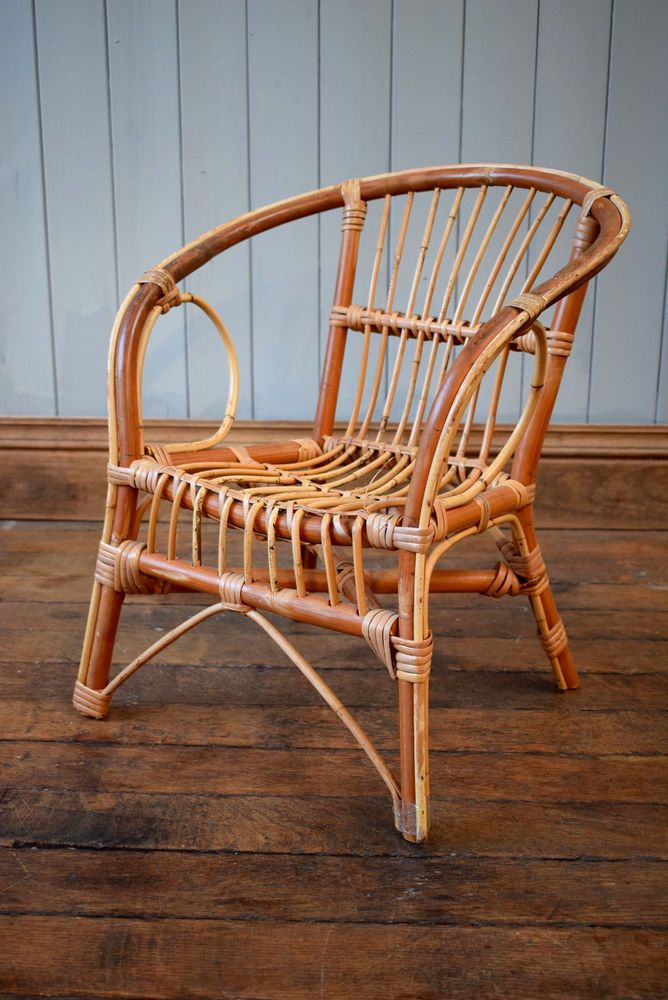 Vintage Cane Wicker Child S Hoop Chair Bucket Retro Mid Century