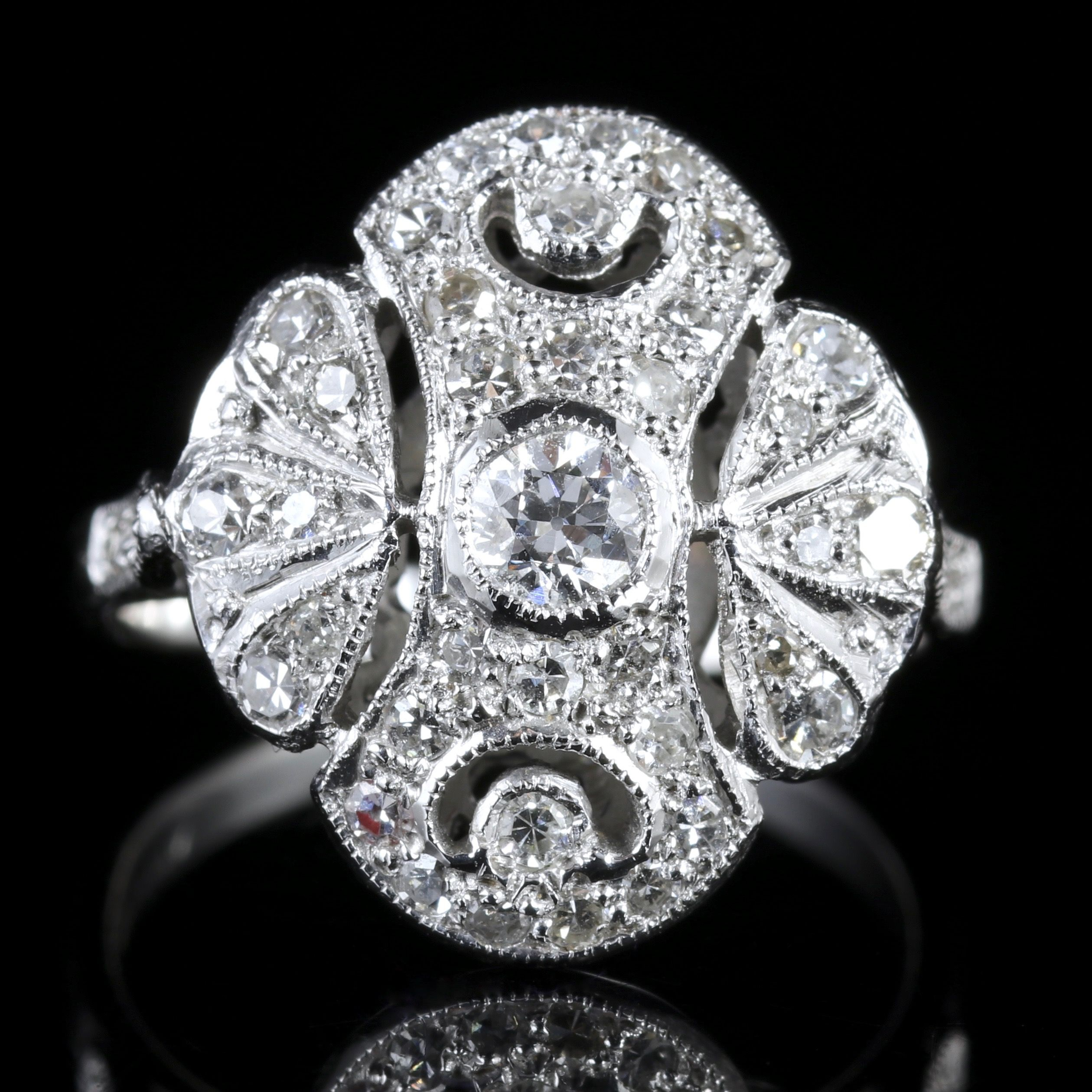 Antique Edwardian Diamond Cluster Ring 18ct White Gold