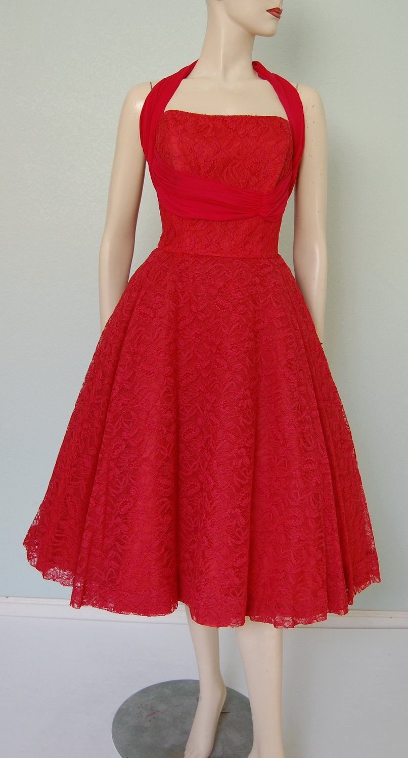 1950s neiman marcus lace halter neck dress with silk chiffon 1950s neiman marcus lace halter neck dress with silk chiffon detail in fire engine red ombrellifo Choice Image