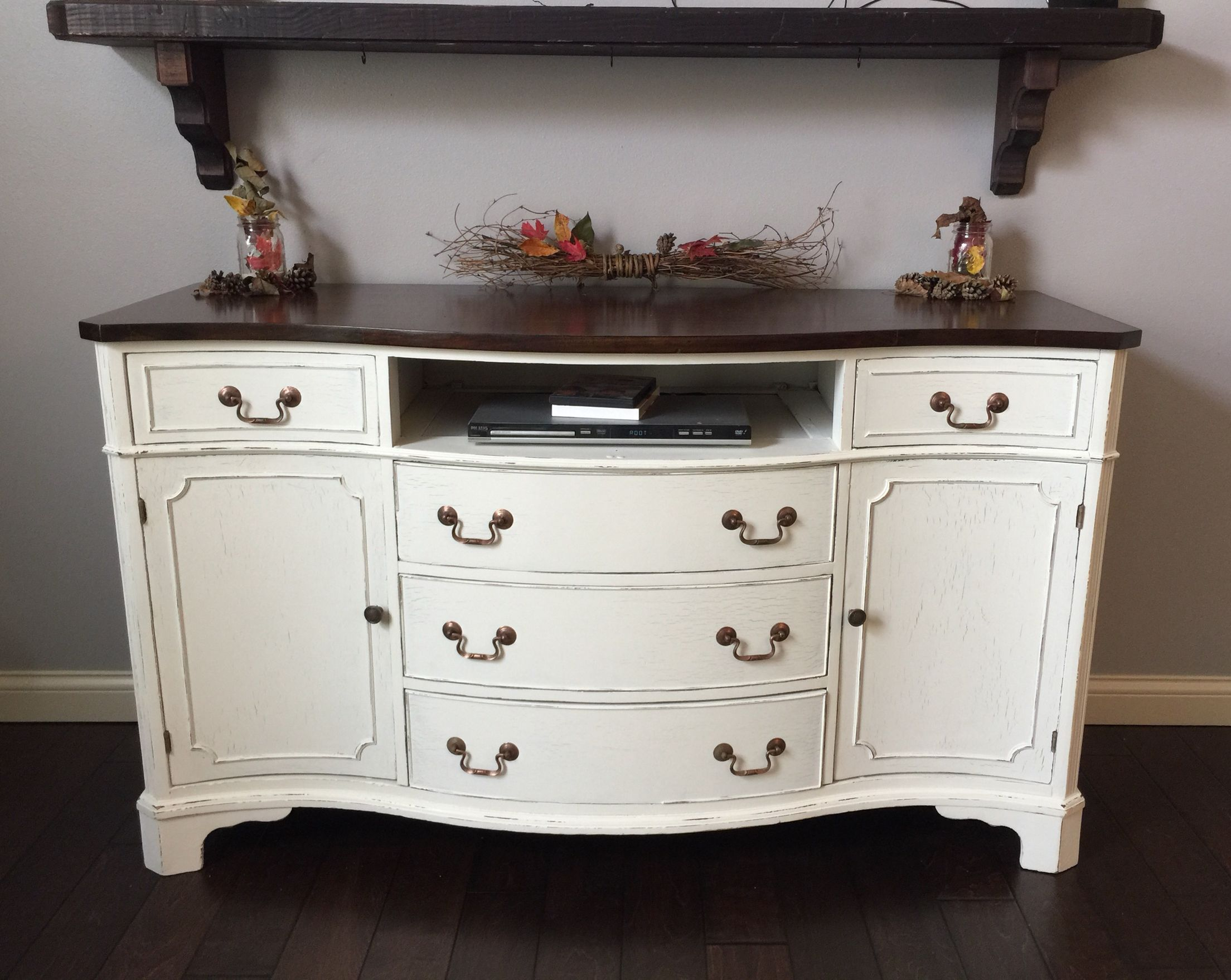 How to paint a vintage buffet home stories a to z - Antique Buffet Sideboard Lightly Distressed Her Dainties Valspar Chalk Paint Finished With Clear Wax