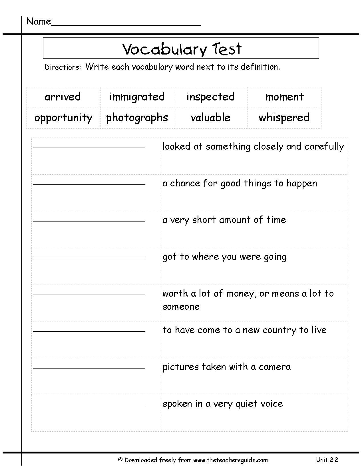 Wonders Third Grade Unit Two Week Two Printouts   Vocabulary worksheets [ 1650 x 1275 Pixel ]