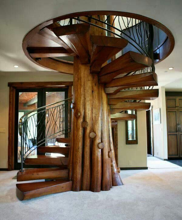 Best Spiral Staircase With Tree Trunk And Branch Like Steps 400 x 300