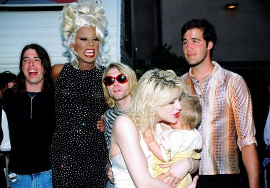 Ru Paul, Courtney Love, Kurt Cobain et Frances Bean