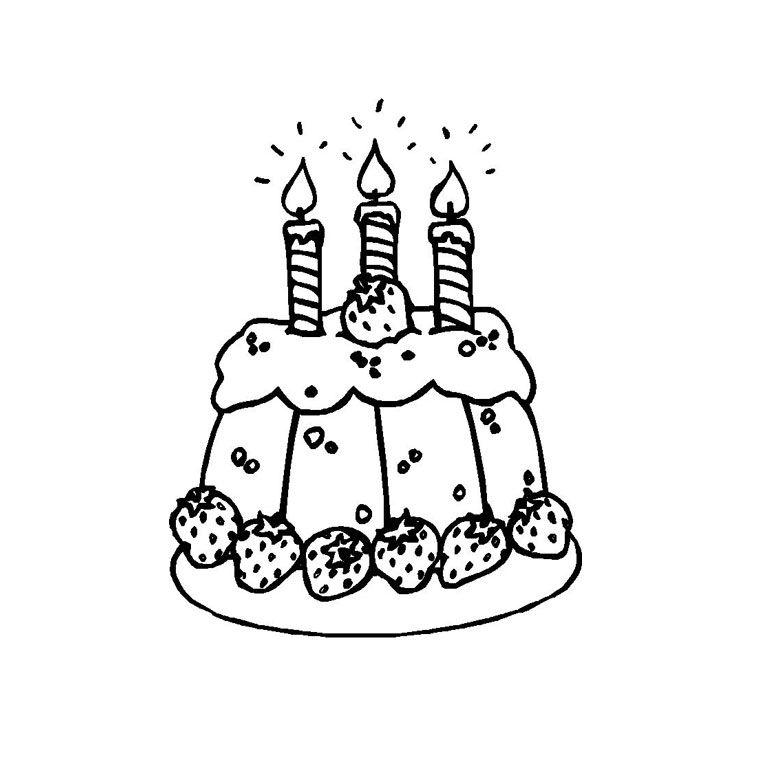 Coloriage Gateau Cake.Coloriage Gateau Anniversaire 3 Ans Anniv Birthday