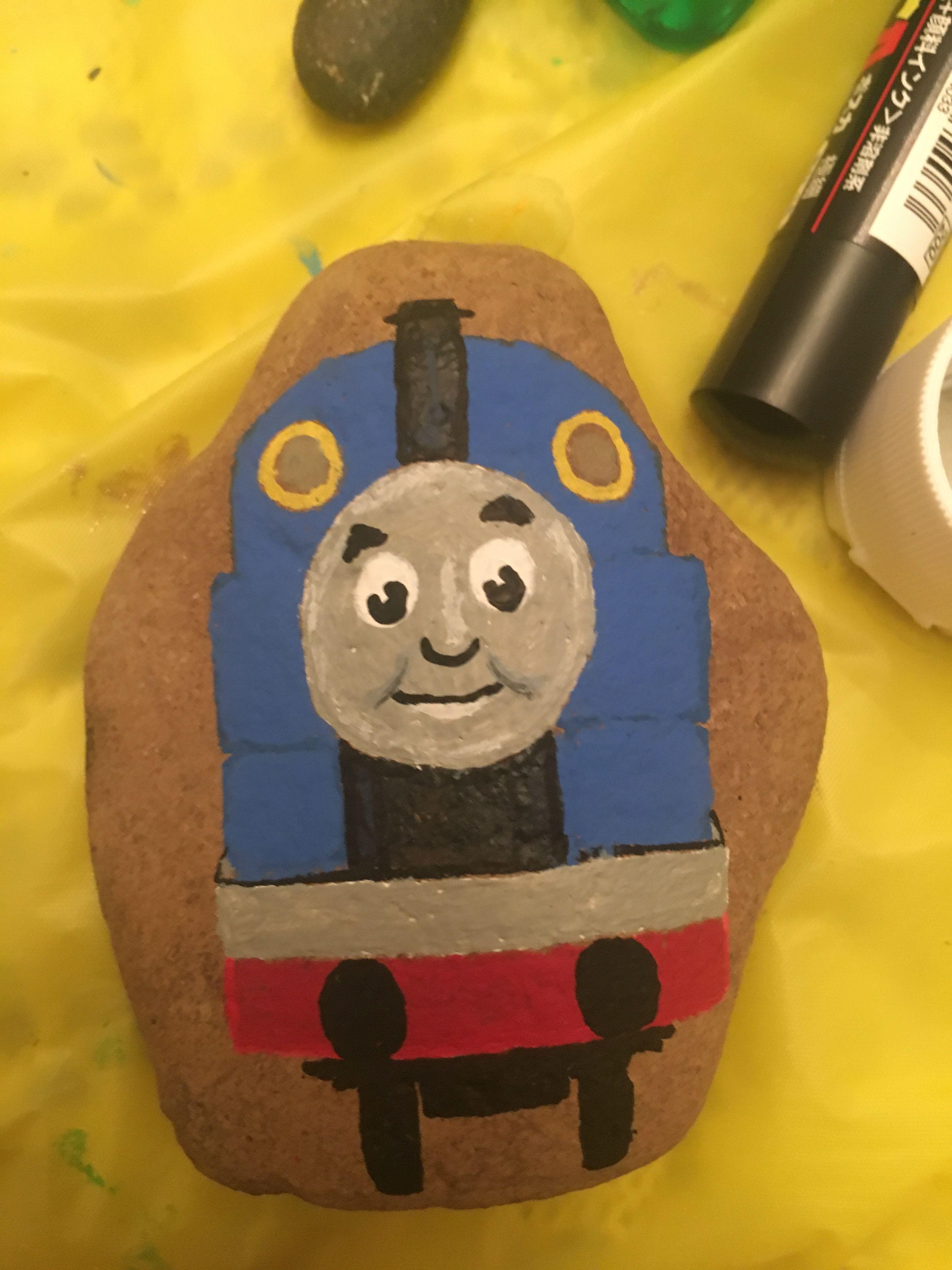 Thomas The Tank Engine Painted Rock Painted Rocks Kids Pebble Painting Rock Crafts