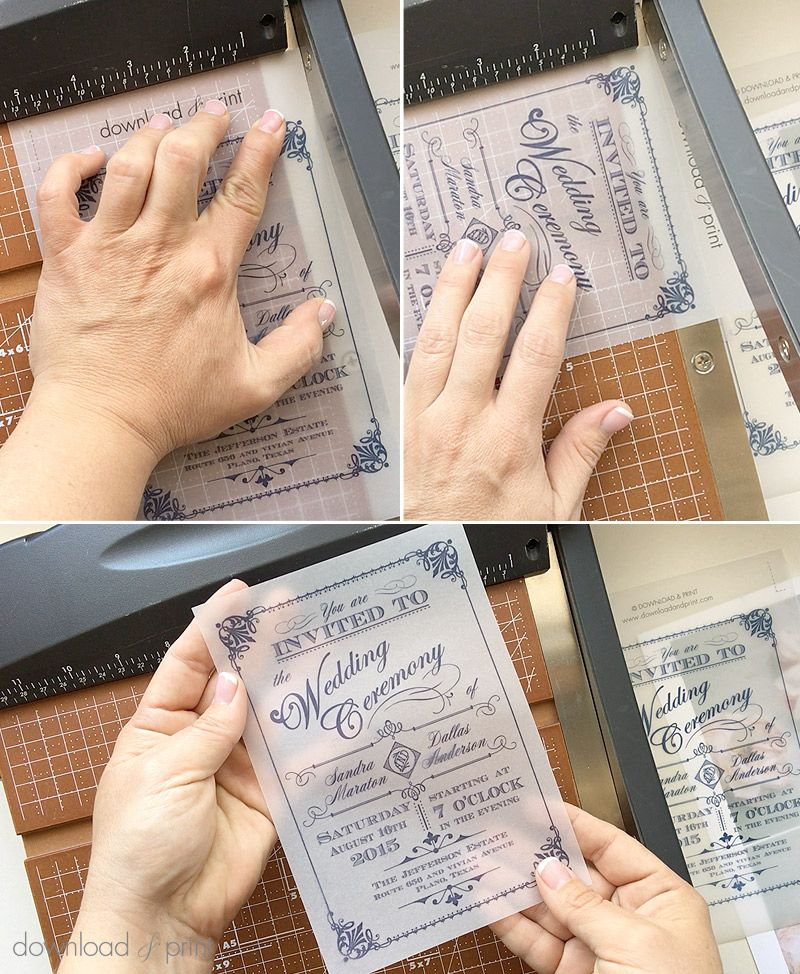 trim the diy vintage wedding invitation printed on vellum download