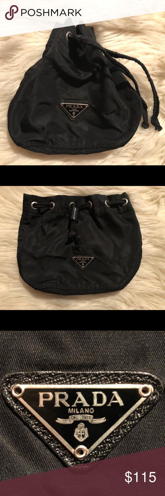 f01561df419344 Prada Vela drawstring pouch Authentic. Made from black Vela fabric with  silver triangular logo plate