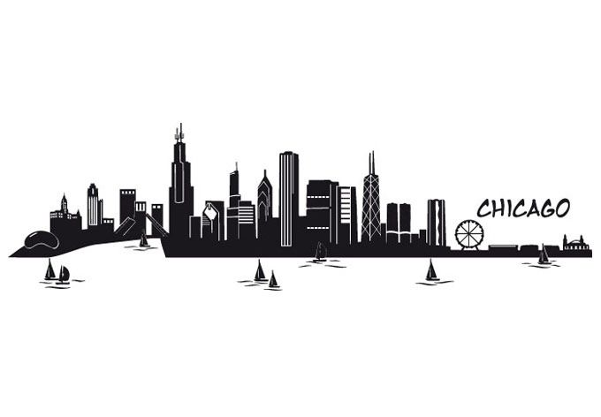 Chicago Skyline Silhouette Chicago Skyline Wall Art