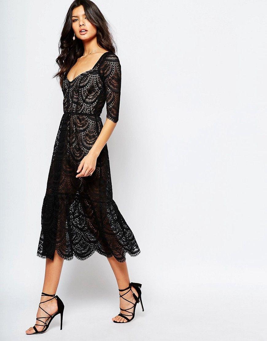 e5160c9074e3f Image 4 of For Love and Lemons Rosalita Midi Dress in Black Lace