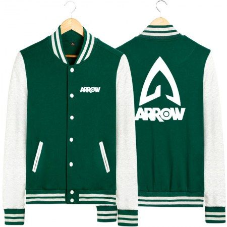 Superheroes Youth Baseball Uniforms Green Arrow Sweatshrit Youth Baseball Uniforms Bomber Jacket Cheap Embroidered Bomber Jacket