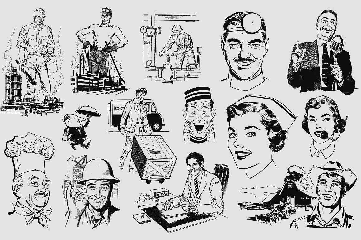 50s Professions Retro Vector Clip Art Vintage Retro Illustration