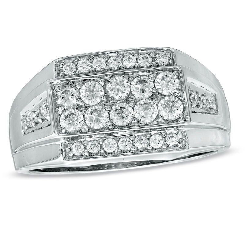 Men S 3 4 Ct T W Diamond Ring In 10k White Gold Zales Men Diamond Ring White Gold Mens Jewelry