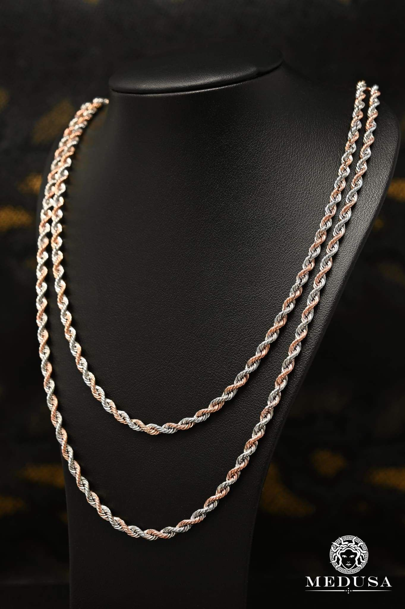 4mm Torsade Or Rose 2 Tons 7mm Chain Chain Beaded Necklace
